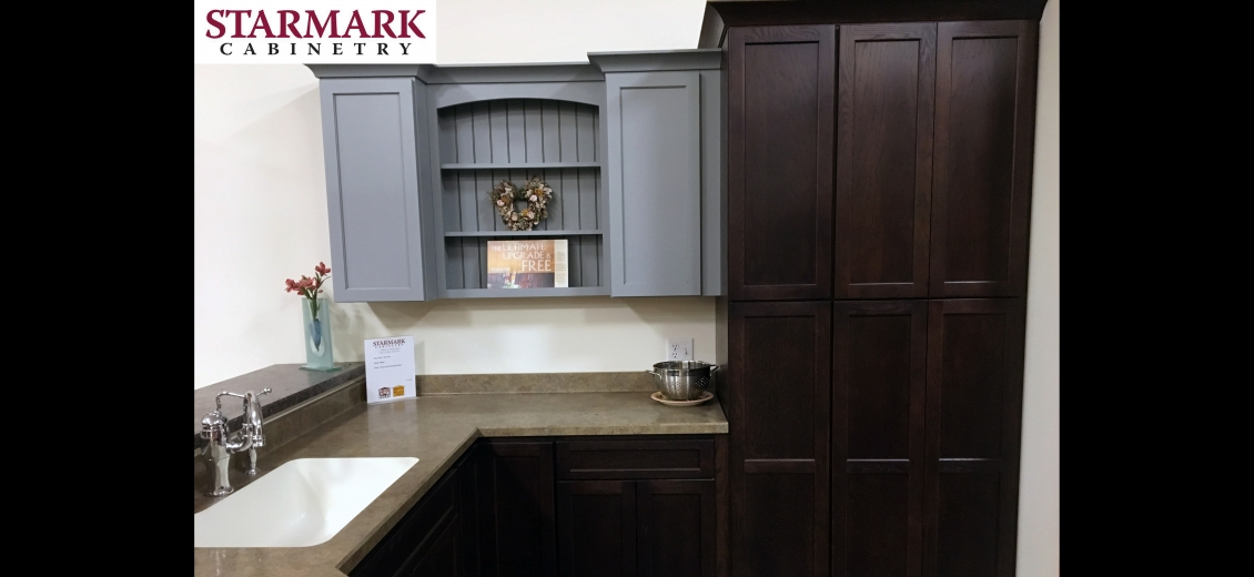 StarMark Cabinetry kitchen display at Waterloo HEP Sales/North Main Lumber, 0446 Waterloo Geneva Road