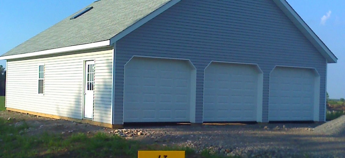 Pole barn-style 3-car garage