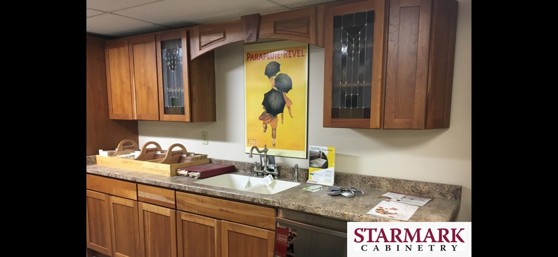 StarMark Cabinetry kitchen display at Newark HEP Sales/North Main Lumber, 6592 Route 31 East