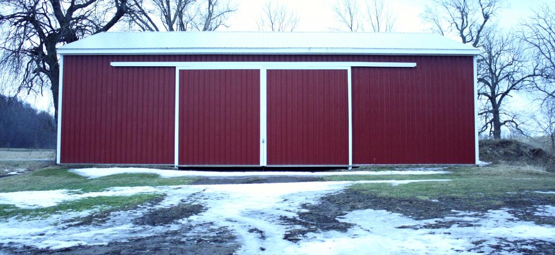 Pole barn with sliding doors